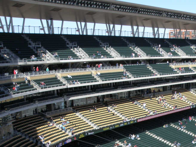 Legends club seats in context above the main concourse below the
